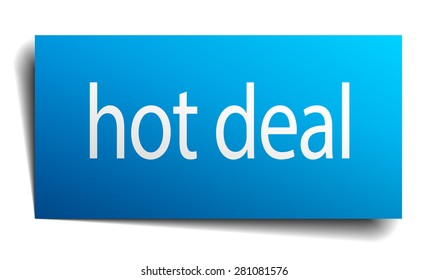 hot deal blue paper sign on white background
