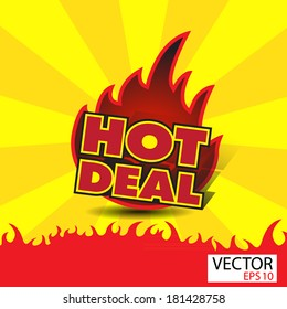 Hot deal sticker  with flames