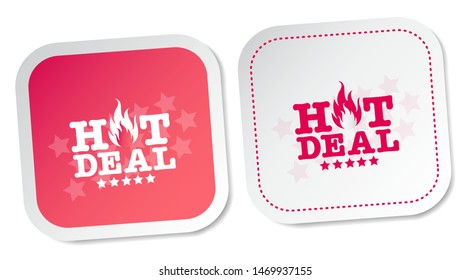 Hot Deals Stickers Isolated On White Background