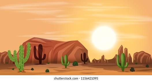 A hot desert landscape illustration