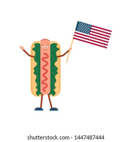 Hot dog with American flag. Vector illustration. Fast-food meal. Street lunch. Happy hot dog invite you to try delicious food. National holiday