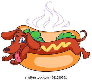 Hot dog, badger-dog in a bun as a sausage, funny vector illustration, cartoon style.