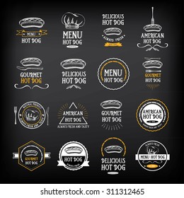 Hot dog badges and menu design elements.