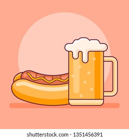 Hot dog and beer mug flat line icon. Fast food vector illustration.