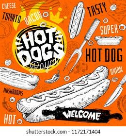 Hot dog bistro restaurant menu. Vector hot dog fast food flyer paper cards for bar cafe. Design template, logo, emblem, sign, crown, welcome vintage hand drawn vector illustrations.