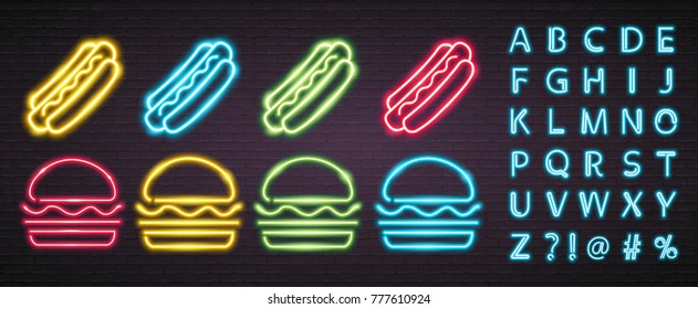 Hot Dog and Burger Neon Light Glowing Different Colour Set. Alphabet Neon Light Bright Advertising Editing Neon Light