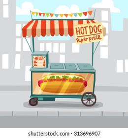 Hot dog cart shop on city street background vector illustration