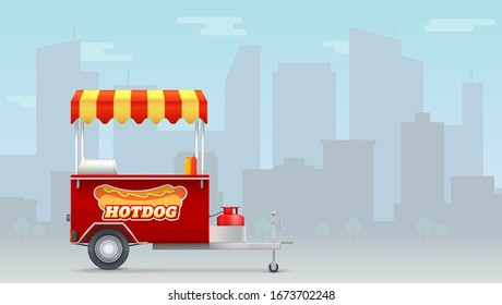Hot dog cart, street fast food market on big city backdrop. Template with kiosk of seller fast food for posters, banners. Trolley for outdoor service with hot dog logo. Vector 3d illustration
