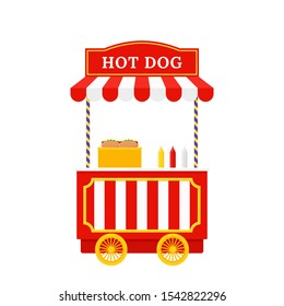 Hot dog cart. Vector. Hotdog stand. Outdoor food shop. Circus, carnival kiosk stand. Funfair retro trolley. Vintage booth in amusement park. Cartoon illustration. Icon isolated on white background.