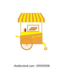 hot dog cart vector illustration