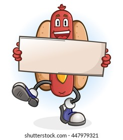 Hot Dog Cartoon Character Holding a Sign