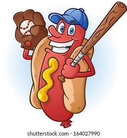 Hot Dog Cartoon Character Playing Baseball
