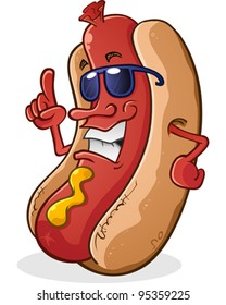 Hot Dog Cartoon Character Wearing Sunglasses With Attitude