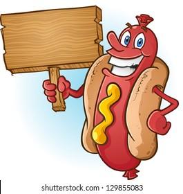 Hot Dog Cartoon Holding a Blank Wooden Sign