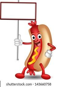 hot dog cartoon holding blank board