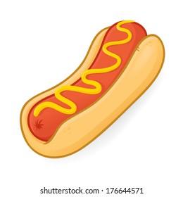 Hot Dog Cartoon Illustration