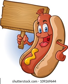 Hot Dog Character Holding A Sign