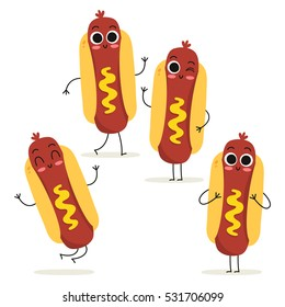 Hot dog. Cute fast food vector character set isolated on white