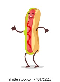 Hot dog dancing isolated on white. Funny food story conceptual banner. Fresh cooked hotdog character in cartoon style on disco. Happy meal for children. Childish menu poster. Vector illustration