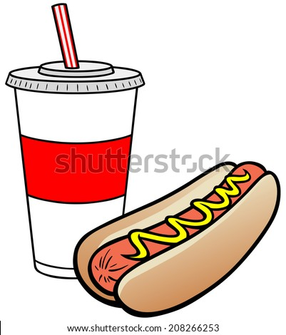 5a4262ce74cb Hot Dog Drink Stock Vector (Royalty Free) 208266253 - Shutterstock
