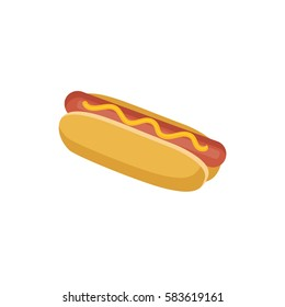 Hot dog flat illustration, bread with sausage isolated on the white background