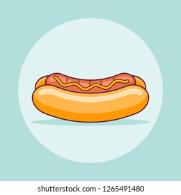 Hot dog flat line icon. Vector illustration.