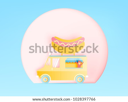 Hot Dog Food Truck Paper Art Stock Vector (Royalty Free