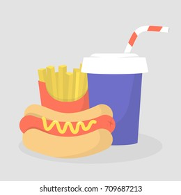 Hot dog, french fries and soda set. Fast food restaurant. Combo. Flat editable vector illustration, clip art