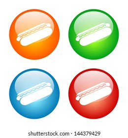 Hot Dog Icon Colorful Glass Button Icon Set. Vector format, colors can be adjusted easily.