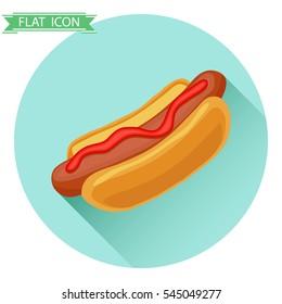 Hot dog, hot dog icon, fast food, fast food vector, ketchup, sausage, bun. Flat design, vector illustration, vector.