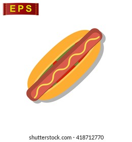 hot dog icon, vector fast food icon, isolated restaurant sign