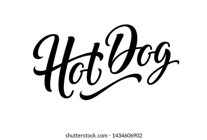 Hot dog isolated on white background. Hotdog sign, logo, label, text and word for food vending cart, urban kiosk, stall or fast food sign. Lettering emblem. Horizontal banner. Vector illustration.