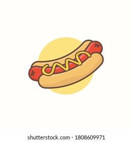 Hot dog, junk food cute illustration, icon graphic junk food, sign for web design, mobile design, editable with eps file