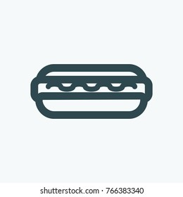 Hot dog with a ketchup vector icon