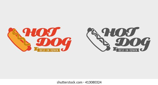 Hot dog label concept. Best in town hot dog vector logo or badge. Monochrome and color