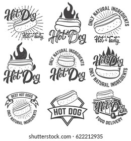 hot dog labels. Handwritten lettering logo, label, badge. Isolated on white background. Vector illustration.