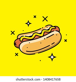 Hot dog line icon. American fast food hotdog graphic. Vector illustration.