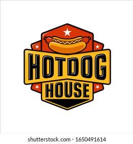 Hot dog logo badge with retro design style