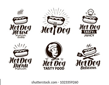 Hot dog logo or label. Fast food, eating emblem. Typographic design vector illustration