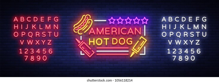 Hot dog logo in neon style design template. Hot dog neon signs, light banner, neon symbol fast food emblem, American food, bright night advertising. Vector illustration. Editing text neon sign