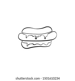 hot dog logo. simple logo for your company or cafe. bread mascot Bakery logo cake