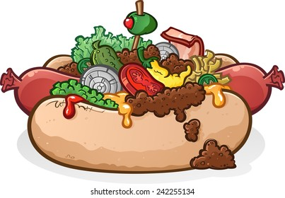 Hot Dog With Lots of Toppings