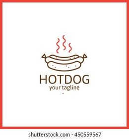 Hot dog minimal vector line logo. Clean food sign and mark.