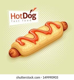hot dog on vintage background with label - EPS10 vector illustration