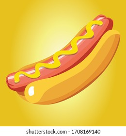 Hot Dog on a yellow background, hotdog with sausage and mustard