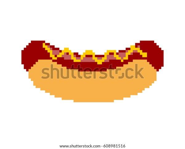 Image Vectorielle De Stock De Lart Des Pixels De Hot Dog