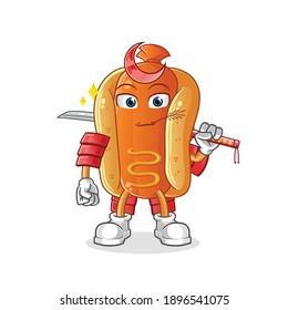 hot dog samurai cartoon. cartoon mascot vector