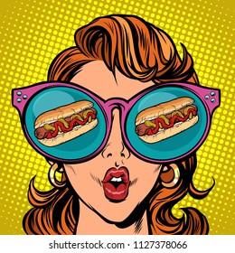 hot dog sausage ketchup mustard. Woman reflection in glasses. Comic cartoon pop art retro vector illustration drawing