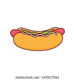 Hot Dog With Sesame Vector Illustration