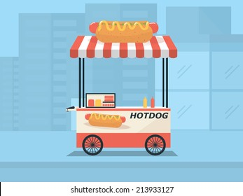 Hot dog shop, street cart in city